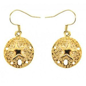 Gold Sand Dollar Earrings yellow gold plate NWT